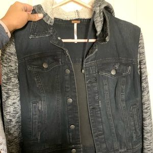 Free people Jean jacket with hood